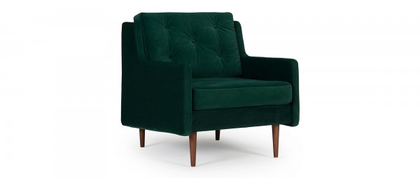 MALMÖ Designer Sessel mit Polsterarmlehnen und versteppten Rückenkissen