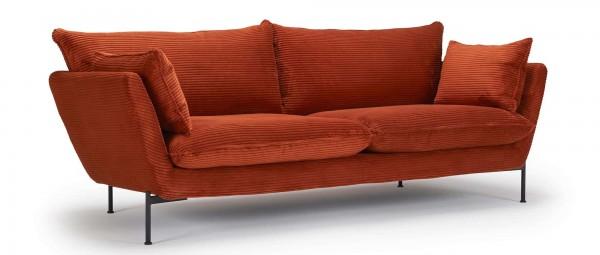 FALUN 3-Sitzer Designer Sofa mit Polsterarmlehnen und Metallfüßen