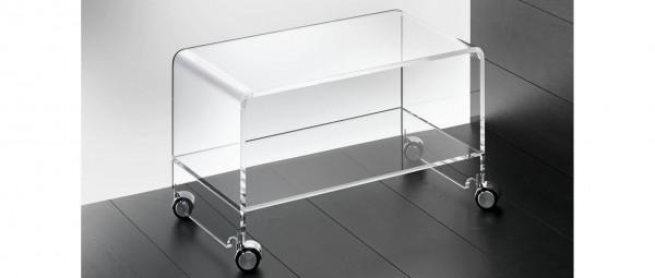 WIEN Rollwagen, Tisch aus Plexiglas von Edelber