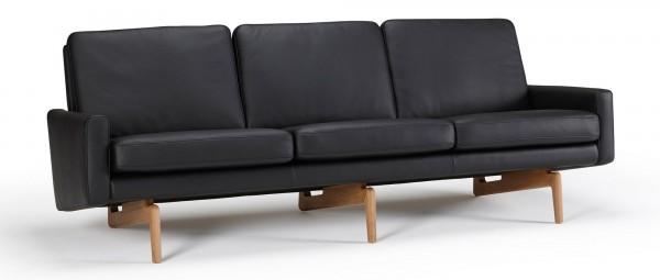 KOPENHAGEN 3-Sitzer Designer Sofa mit Polsterarmlehnen und Holzfüßen