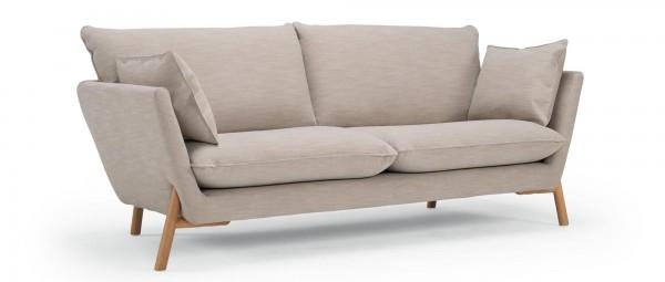 HALDEN 2-Sitzer Designer Sofa mit Polsterarmlehnen und Holzfüßen