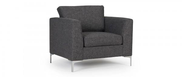 TRELLEBORG Designer Sessel mit Polsterarmlehnen und Chromfüßen