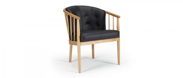 ESBERG Designer Stuhl mit Holzarmlehnen und Sitzpolsterung
