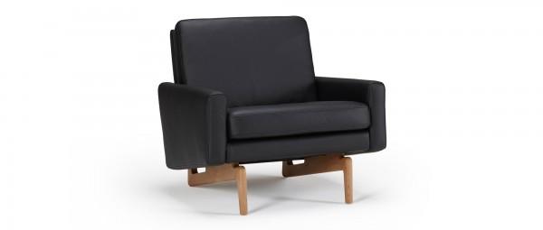 KOPENHAGEN Designer Sessel mit Polsterarmlehnen und Holzfüßen