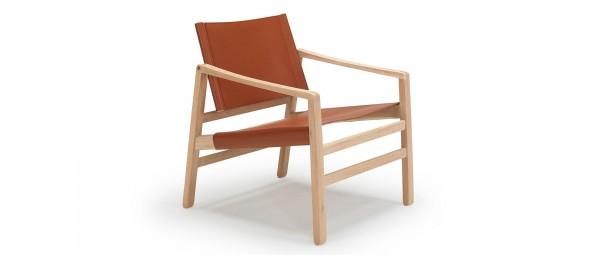 RIBE Designer Stuhl mit Holzarmlehnen und Lederbezug