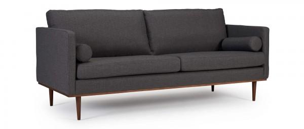 OSLO 3-Sitzer Designer Sofa mit Polsterarmlehnen und runden Seitenkissen