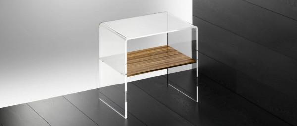 LONDON Beistelltisch, Nachttisch aus Plexiglas mit Holzboard von Edelber