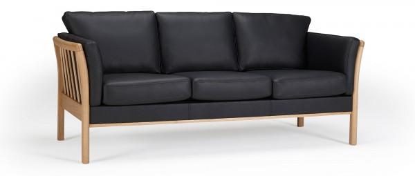 STOCKHOLM 3-Sitzer Designer Sofa mit Holzarmlehnen