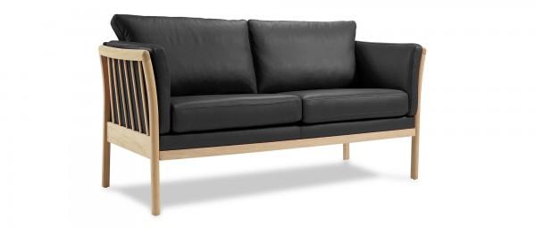 AARHUS 2-Sitzer Designer Sofa mit Holzarmlehnen