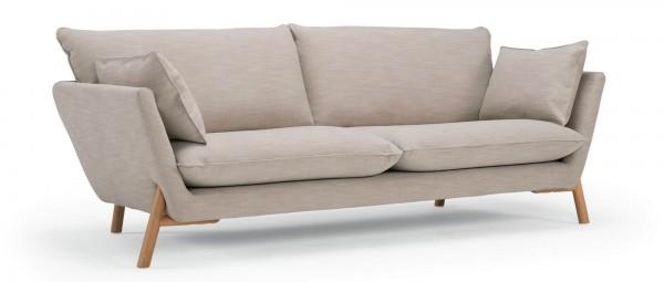 HALDEN 3-Sitzer Designer Sofa mit Polsterarmlehnen und Holzfüßen