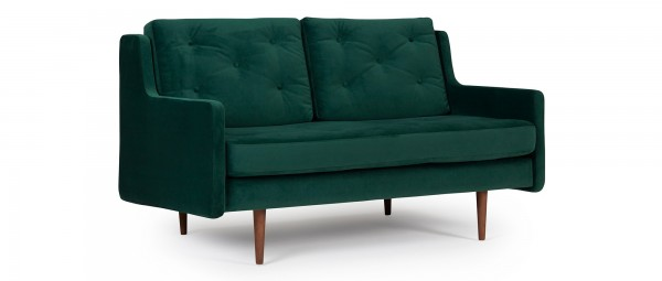MALMÖ 2-Sitzer Designer Sofa mit Polsterarmlehnen und versteppten Rückenkissen