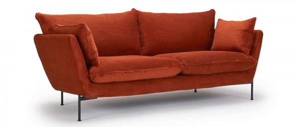 FALUN 2-Sitzer Designer Sofa mit Polsterarmlehnen und Metallfüßen