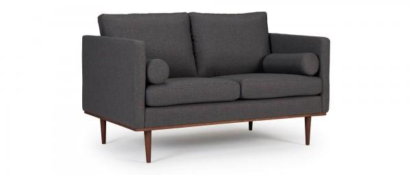 OSLO 2-Sitzer Designer Sofa mit Polsterarmlehnen und runden Seitenkissen