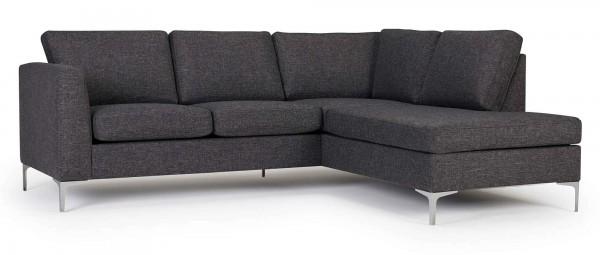 TRELLEBORG Sofa mit Eckanbau, Polsterarmlehnen und Chromfüßen