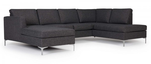 TRELLEBORG Sofa mit U-Form, Polsterarmlehnen und Chromfüßen