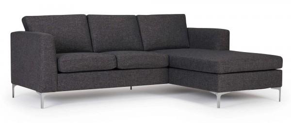 TRELLEBORG Sofa mit Longchair, Polsterarmlehnen und Chromfüßen
