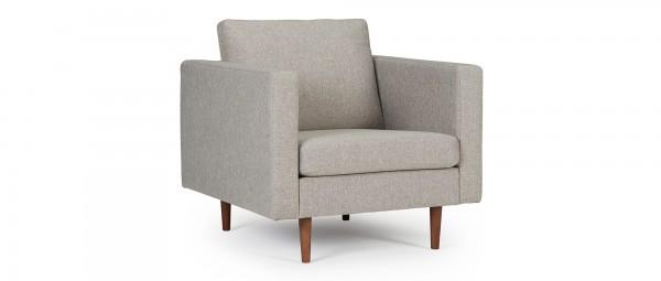 HALMSTAD Designer Sessel mit Polsterarmlehnen und Holzfüßen