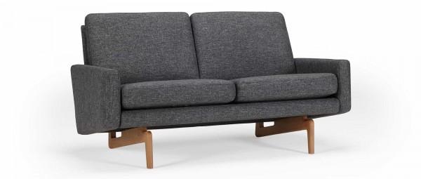 KOPENHAGEN 2-Sitzer Designer Sofa mit Polsterarmlehnen und Holzfüßen