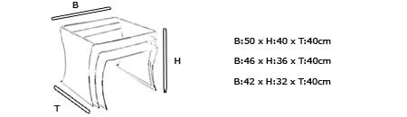 Plexiglas Beistelltisch HAMBURG Maße