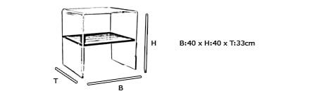 Beistelltisch LONDON - Plexiglas mit Holzboard von Edelber Maße