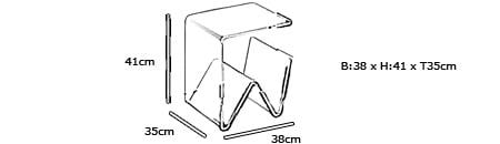 Plexiglas Tisch und Zeitungsständer WALES von Edelber Maße