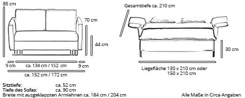 Schlafsofa CUBISMO von Franz Fertig Maße
