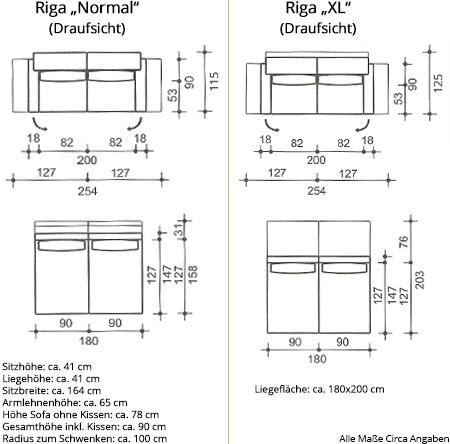 Schlafsofa RIGA / RIGA XL von Franz Fertig Maße