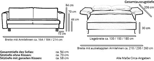 Franz Fertig Schlafsofa VIP Maße