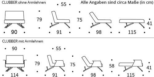 Innovation Sessel CLUBBER mit und ohne Armlehnen Maße