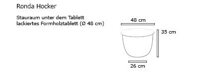 RONDA Hocker / Beistelltisch mit Stauraum von pieperconcept Maße