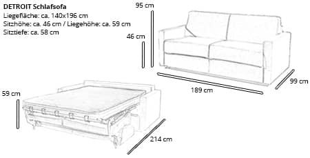 DETROIT Schlafsofa von sofaplus Maße