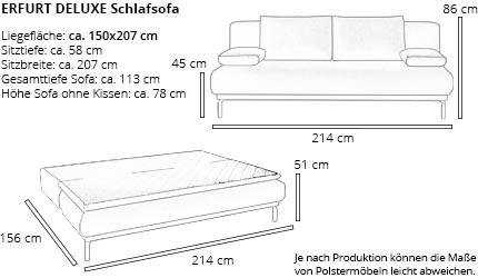 Schlafsofa ERFURT DELUXE von sofaplus Maße