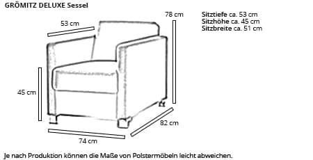 GRÖMITZ DELUXE Designersessel von sofaplus Maße