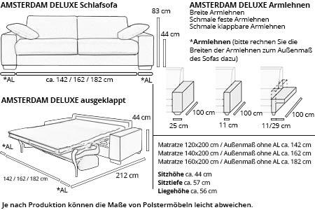 Schlafsofa AMSTERDAM DELUXE von sofaplus Maße