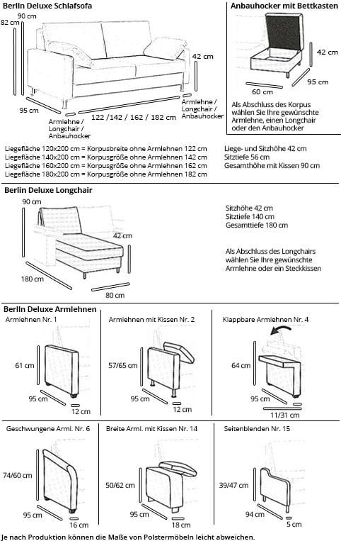 Berlin Deluxe Eckschlafsofa Mit Bettkasten Und Longchair Von