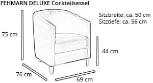 Designer Sessel FEHMARN DELUXE von sofaplus Maße