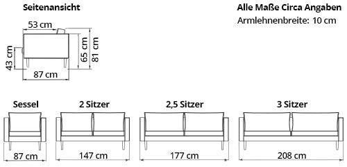 HALMSTAD 3-Sitzer Designer Sofa von sofaplus Maße