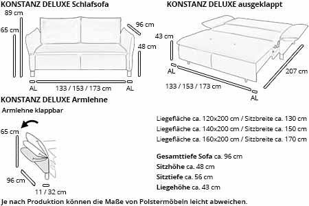 Schlafsofa KONSTANZ DELUXE von sofaplus Maße