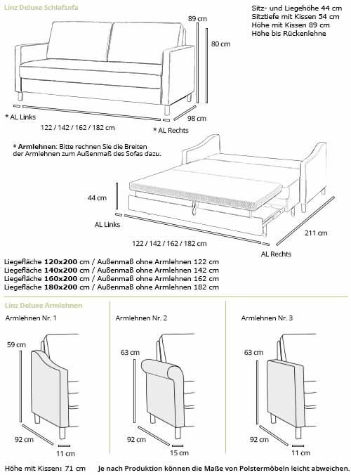 Schlafsofa LINZ DELUXE von sofaplus Maße
