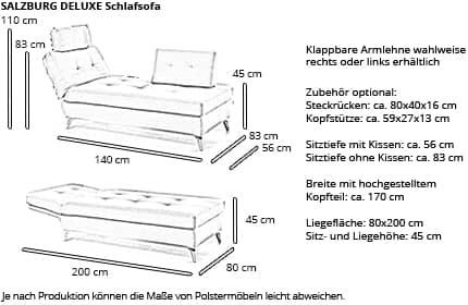 Schlafsofa SALZBURG DELUXE von sofaplus Maße