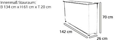 STAURAUMBOX von sofaplus Maße