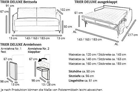 schlafsofa mit matratze und lattenrost trier deluxe von. Black Bedroom Furniture Sets. Home Design Ideas