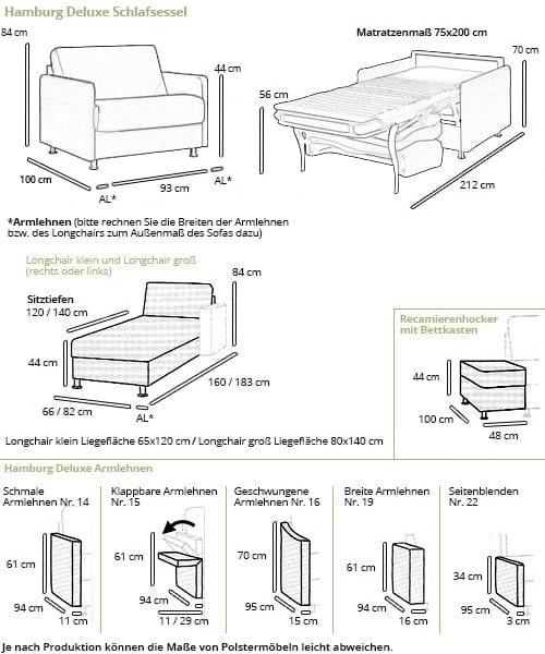 Sofaplus Schlafsessel HAMBURG DELUXE Maße