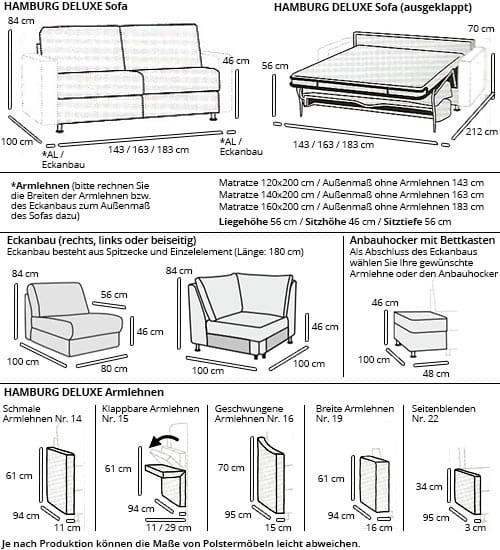 HAMBURG DELUXE Eckschlafsofa mit Eckanbau von sofaplus Maße