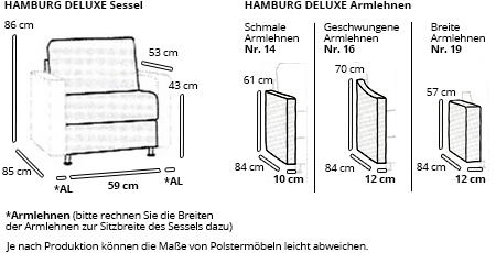 HAMBURG DELUXE Designersessel von sofaplus Maße