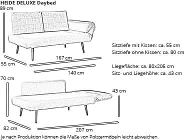 Daybed HEIDE DELUXE von sofaplus Maße