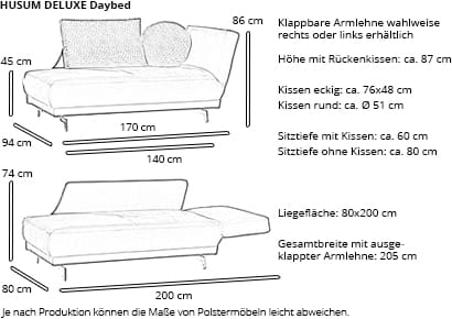 Daybed HUSUM DELUXE von sofaplus Maße