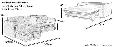 Eckschlafsofa KANSAS von sofaplus Maße