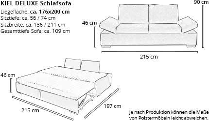 Schlafsofa KIEL DELUXE von sofaplus Maße
