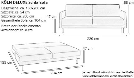 Schlafsofa KÖLN DELUXE von sofaplus Maße